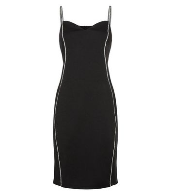 Blue Vanilla Black Diamanté Strap Bodycon Dress New Look