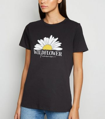 Black Daisy Wildflower Forever Slogan T-Shirt