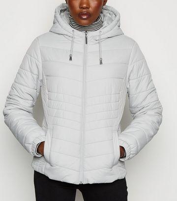 Pale Grey Lightweight Hooded Puffer Jacket