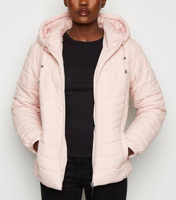 Pale Pink Lightweight Hooded Puffer Jacket