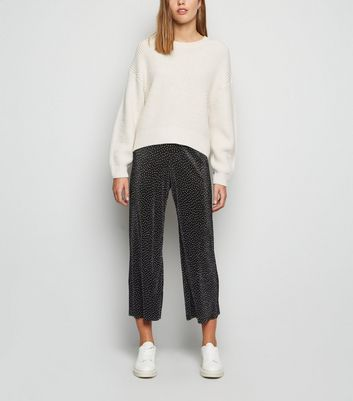 Black Spot Plissé Crop Trousers by New Look