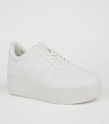 White Leather-Look Flatform Trainers