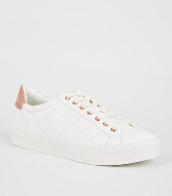 White Leather-Look Quilted Lace Up