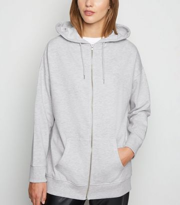 Grey Zip Up Longline Hoodie
