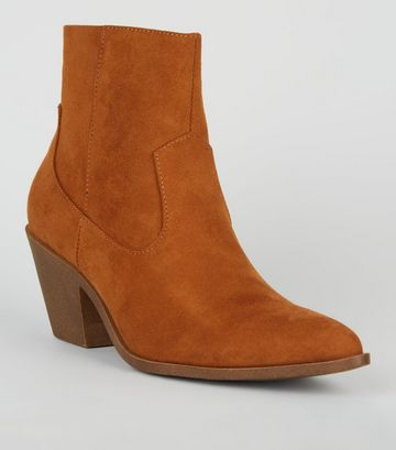 Tan Suedette Pointed Block Heel Boots