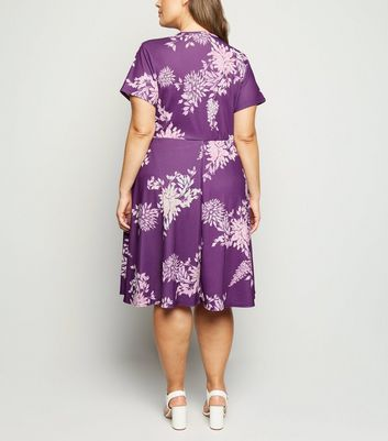 Just Curvy Dark Purple Floral Skater Dress New Look