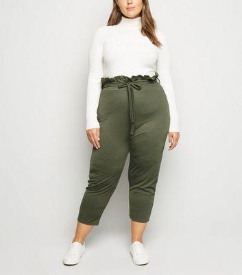 Just Curvy Khaki High Waist Crop Trousers New Look