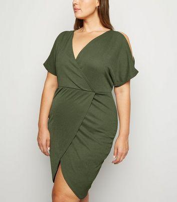 Just Curvy Khaki Cold Shoulder Wrap Dress New Look