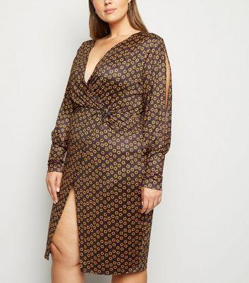 Just Curvy Black Daisy Wrap Midi Dress New Look