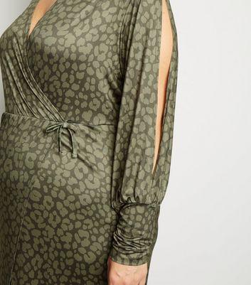 Just Curvy Khaki Leopard Print Split Sleeve Midi Dress New Look