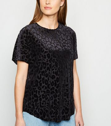 Black Flocked Leopard Print Mesh T-Shirt