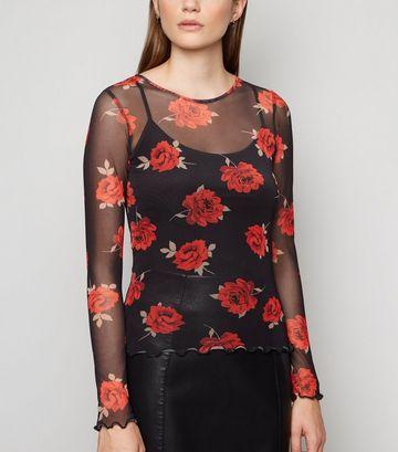 Black Mesh Rose Print Long Sleeve Top