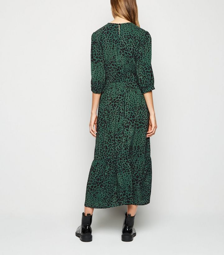 online store cheap for discount release date Green Leopard Print Tiered Smock Midi Dress | New Look