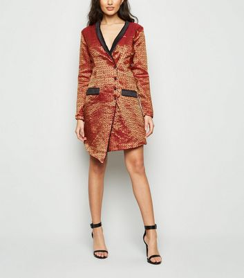 Nesavaali Burgundy Metallic Jacquard Blazer Dress New Look