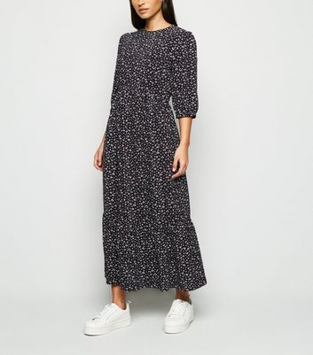 Black Leopard Print Tiered Smock Midi Dress by New Look