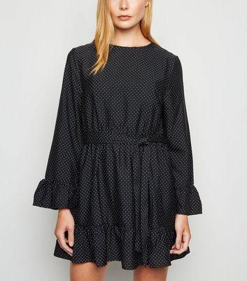 Influence Black Spot Frill Tie Waist Dress New Look