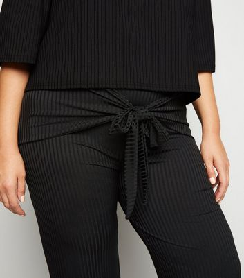 Just Curvy Black Ribbed Tie Front Trousers New Look