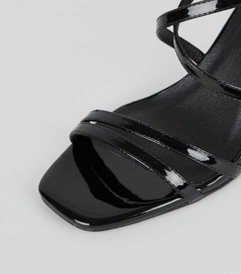 shop for Black Patent Strappy Stiletto Sandals New Look Vegan at Shopo