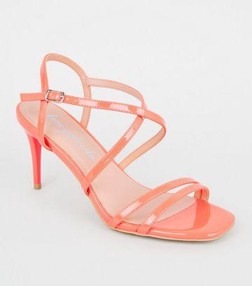 Coral Neon Patent Strappy Stiletto Sandals
