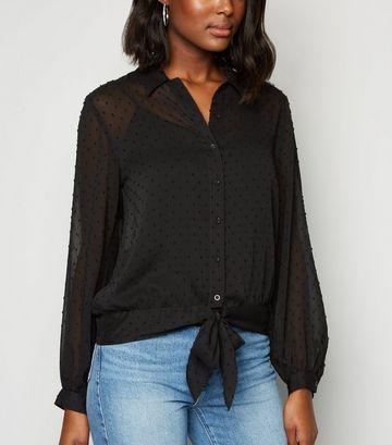 Black Spot Tie Front Long Sleeve Shirt