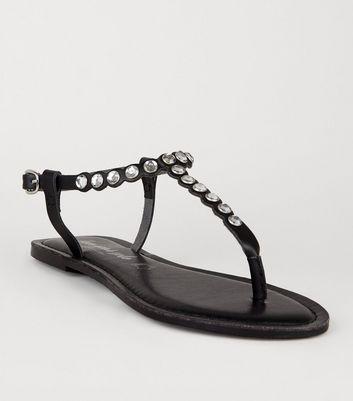 Black Leather Gem Embellished Flat