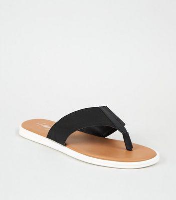 Wide Fit Black Leather Elastic Strap