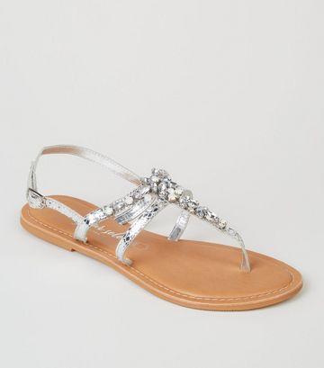 Silver Leather Metallic Diamanté Sandals