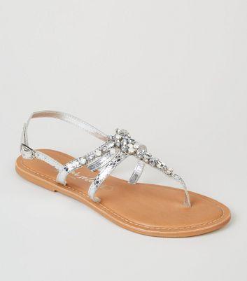 Sandales métallisées argentées en cuir à strass Ajouter à la Wishlist Supprimer de la Wishlist