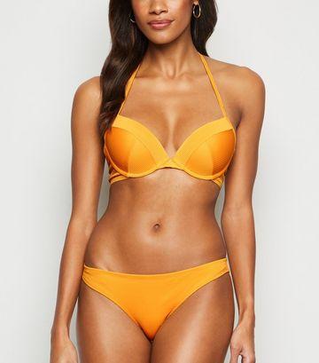 Yellow Ribbed Plunge Underwired Bikini Top