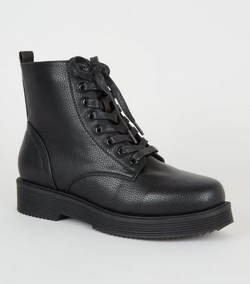 Black Leather-Look Chunky Lace Up Boots