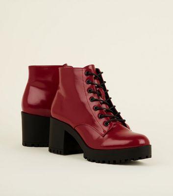 Dark Red Lace Up Chunky Block Heel