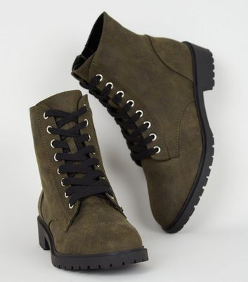 Khaki Leather-Look Flat Lace Up Boots