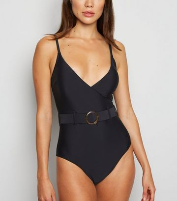 Black Wrap Belted Ring Buckle Swimsuit