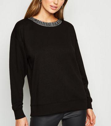 Black Diamanté Collar Sweatshirt