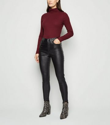 Black Leather-Look Double Zip Super Skinny Jeans
