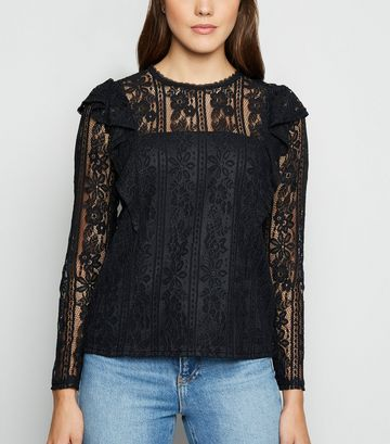Black Lace Long Sleeve Frill Trim Top