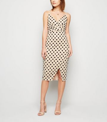 Stone Flocked Spot Wrap Midi Dress