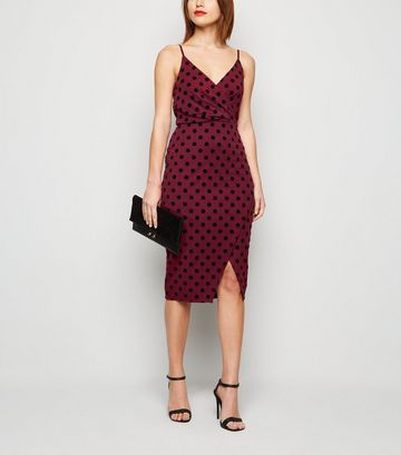 Burgundy Flocked Spot Wrap Midi Dress