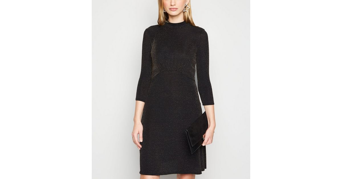 Tall Robe Noire Pailletee A Manches Longues New Look