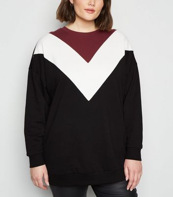 Curves Black Chevron Colour Block Sweatshirt by New Look