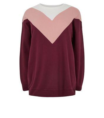 curves pink chevron colour block sweatshirt new look