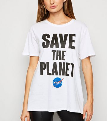 White NASA Save The Planet Slogan T-Shirt