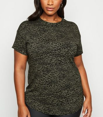 Curves Green Leopard Print T Shirt by New Look