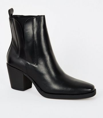 Black Leather-Look Square Toe Western Boots