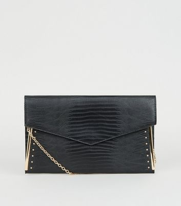 shop for Black Faux Snake Studded Metal Bar Clutch New Look at Shopo