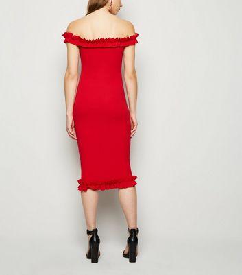 Misfiga Red Ruffle Trim Midi Bodycon Dress New Look