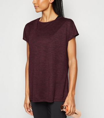 Burgundy Marl Sports T-Shirt