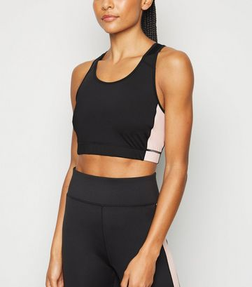 Pale Pink Colour Block Sports Bra