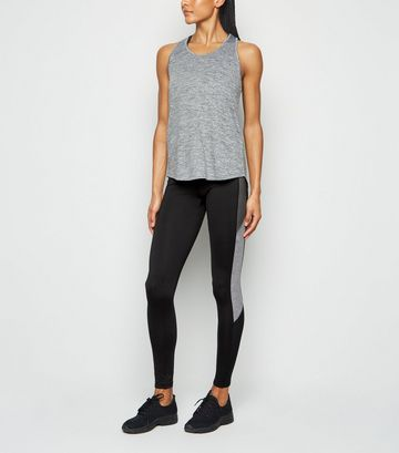 Khaki Colour Block Sports Leggings