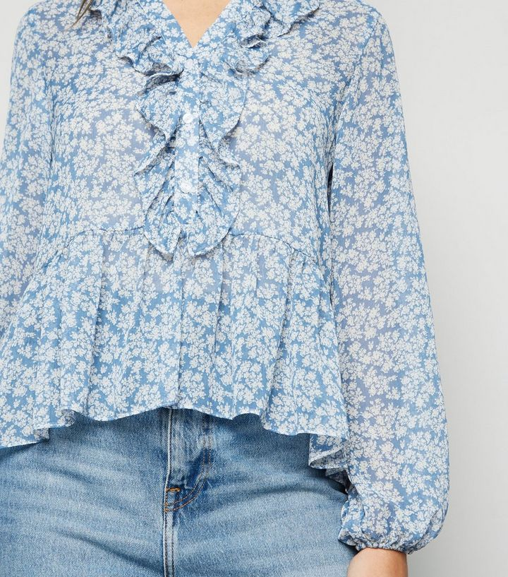 Pebish Gomma Sussurro  Blue Floral Frill Chiffon Blouse | New Look